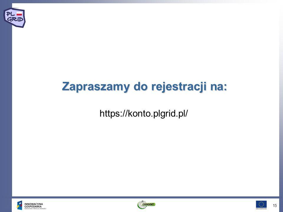 Zapraszamy do rejestracji na: 15 https://konto.plgrid.pl/