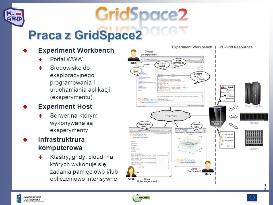 18 Praca z GridSpace2 Experiment Workbench Portal WWW Środowisko do eksploracyjnego programowania i uruchamiania aplikacji (eksperymentu) Experiment H