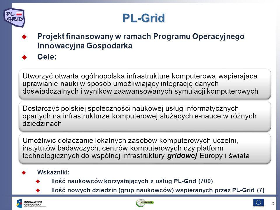 PL-Grid Projekt finansowany w ramach Programu Operacyjnego Innowacyjna Gospodarka Cele: 3 Utworzyć otwartą ogólnopolska infrastrukturę komputerową wsp