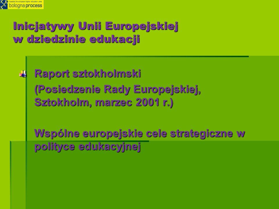 Inicjatywy Unii Europejskiej w dziedzinie edukacji Raport sztokholmski (Posiedzenie Rady Europejskiej, Sztokholm, marzec 2001 r.) Wspólne europejskie