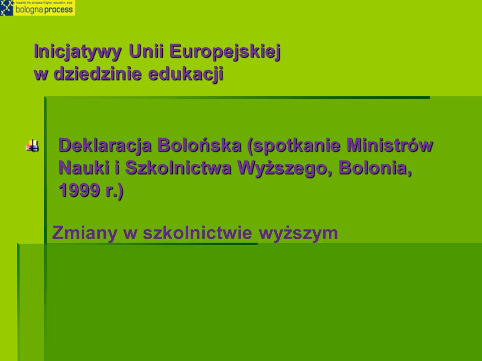 Deklaracja Bolońska (spotkanie Ministrów Nauki i Szkolnictwa Wyższego, Bolonia, 1999 r.) Zmiany w szkolnictwie wyższym Inicjatywy Unii Europejskiej w