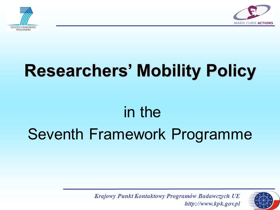 Krajowy Punkt Kontaktowy Programów Badawczych UE http://www.kpk.gov.pl Researchers Mobility Policy in the Seventh Framework Programme