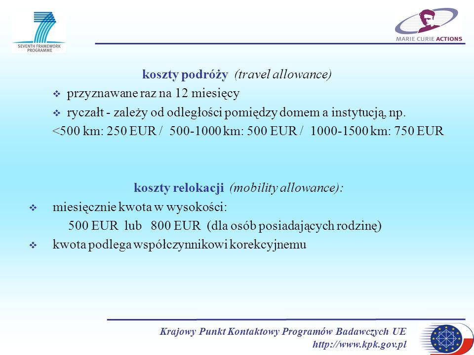 Krajowy Punkt Kontaktowy Programów Badawczych UE http://www.kpk.gov.pl koszty podróży (travel allowance) przyznawane raz na 12 miesięcy ryczałt - zale