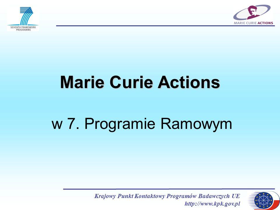 Krajowy Punkt Kontaktowy Programów Badawczych UE http://www.kpk.gov.pl Marie Curie Actions w 7. Programie Ramowym