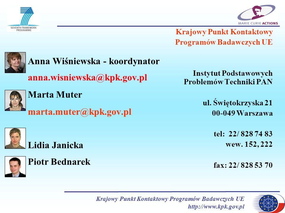 Krajowy Punkt Kontaktowy Programów Badawczych UE http://www.kpk.gov.pl Anna Wiśniewska - koordynator anna.wisniewska@kpk.gov.pl Marta Muter marta.mute