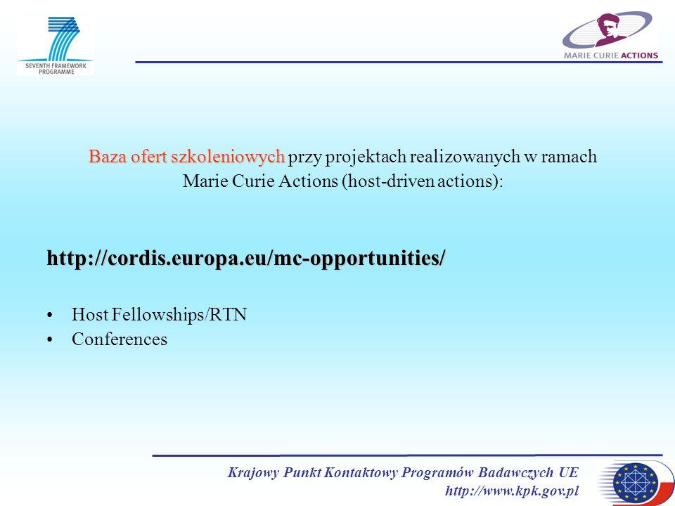 Krajowy Punkt Kontaktowy Programów Badawczych UE http://www.kpk.gov.pl Baza ofert szkoleniowych Baza ofert szkoleniowych przy projektach realizowanych