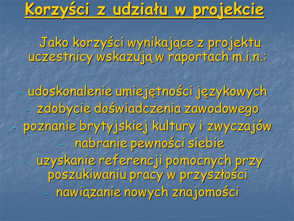 Korzyści z udziału w projekcie Jako korzyści wynikające z projektu uczestnicy wskazują w raportach m.i.n.: Jako korzyści wynikające z projektu uczestn