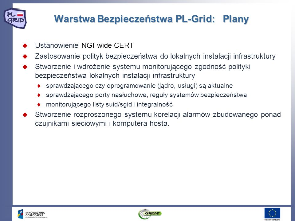 Warstwa Bezpieczeństwa PL-Grid: Plany Ustanowienie NGI-wide CERT Zastosowanie polityk bezpieczeństwa do lokalnych instalacji infrastruktury Stworzenie