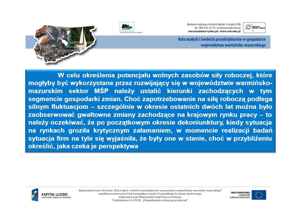 W celu określenia potencjału wolnych zasobów siły roboczej, które mogłyby być wykorzystane przez rozwijający się w województwie warmińsko- mazurskim s