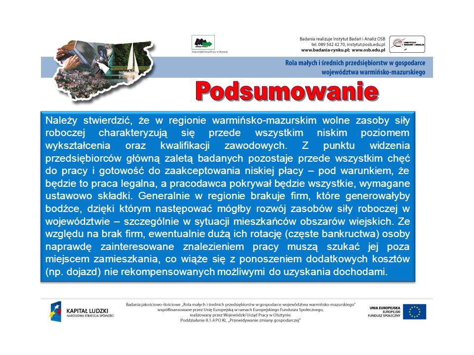 Należy stwierdzić, że w regionie warmińsko-mazurskim wolne zasoby siły roboczej charakteryzują się przede wszystkim niskim poziomem wykształcenia oraz