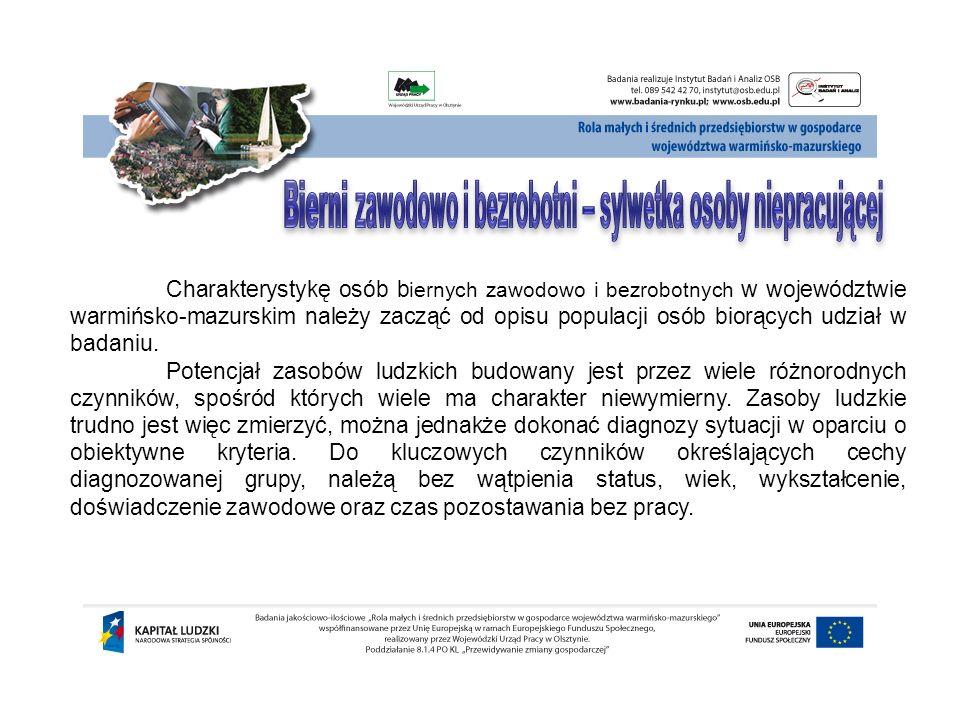 Charakterystykę osób b iernych zawodowo i bezrobotnych w województwie warmińsko-mazurskim należy zacząć od opisu populacji osób biorących udział w bad