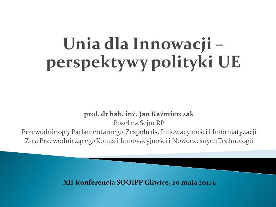 prof. dr hab. inż. Jan Kaźmierczak Poseł na Sejm RP Przewodniczący Parlamentarnego Zespołu ds. Innowacyjności i Informatyzacji Z-ca Przewodniczącego K