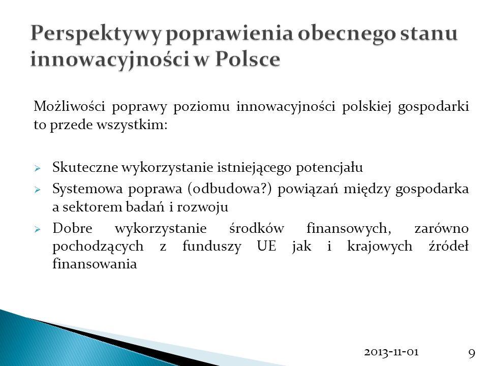 2013-11-019 Możliwości poprawy poziomu innowacyjności polskiej gospodarki to przede wszystkim: Skuteczne wykorzystanie istniejącego potencjału Systemo
