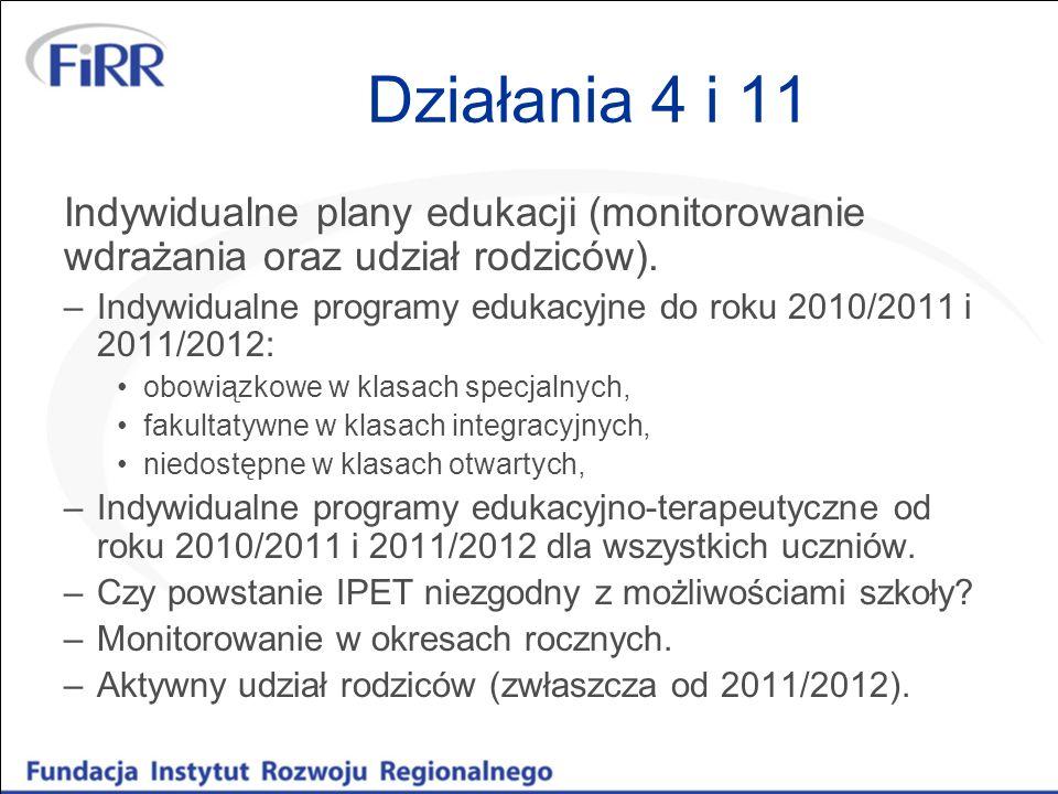 Działania 4 i 11 Indywidualne plany edukacji (monitorowanie wdrażania oraz udział rodziców). –Indywidualne programy edukacyjne do roku 2010/2011 i 201