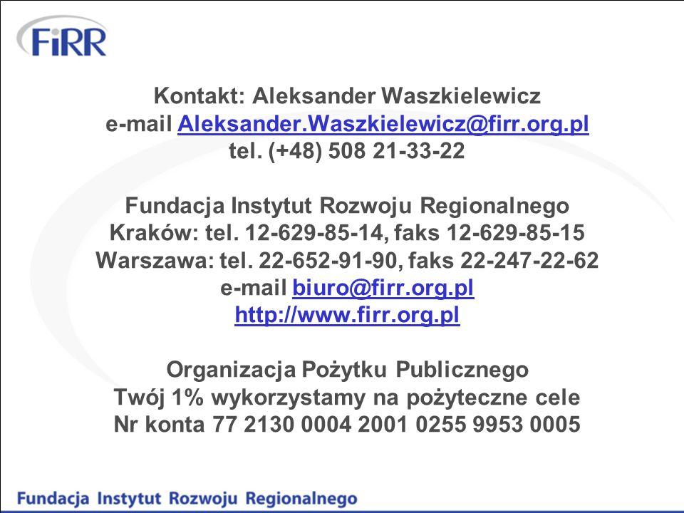Kontakt: Aleksander Waszkielewicz e-mail Aleksander.Waszkielewicz@firr.org.pl tel. (+48) 508 21-33-22 Fundacja Instytut Rozwoju Regionalnego Kraków: t