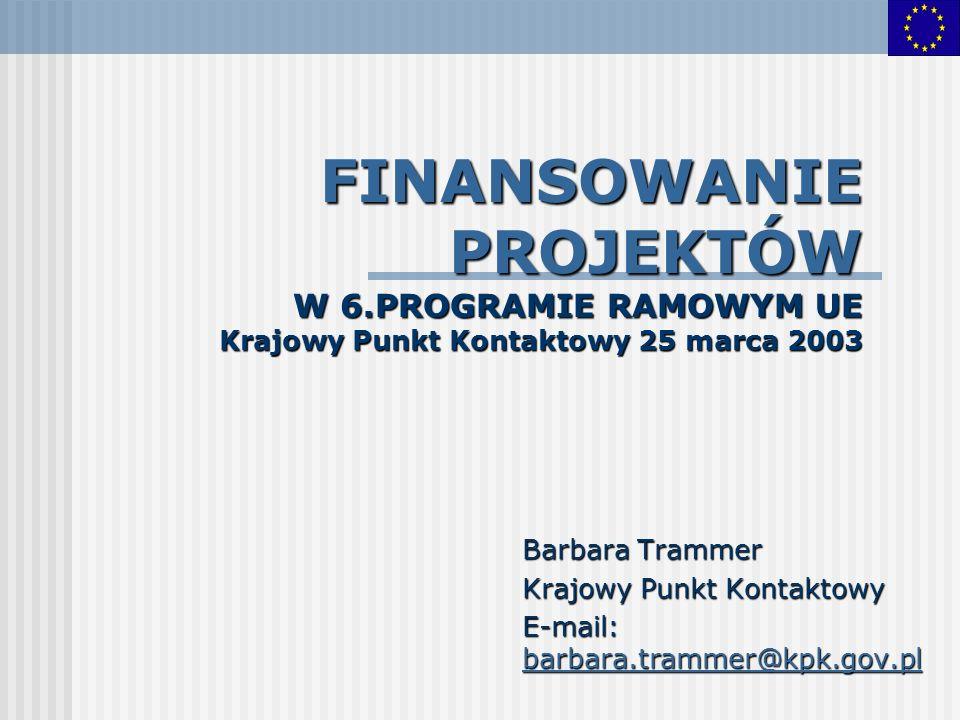 FINANSOWANIE PROJEKTÓW W 6.PROGRAMIE RAMOWYM UE Krajowy Punkt Kontaktowy 25 marca 2003 Barbara Trammer Krajowy Punkt Kontaktowy E-mail: barbara.tramme