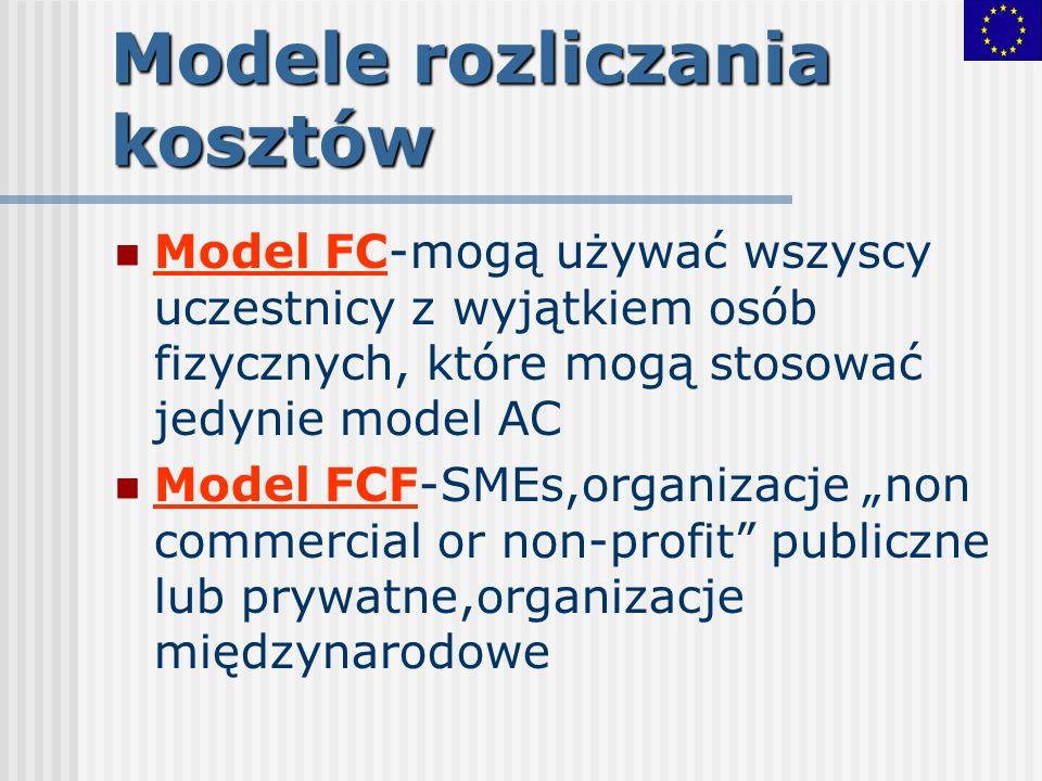 Modele rozliczania kosztów Model FC-mogą używać wszyscy uczestnicy z wyjątkiem osób fizycznych, które mogą stosować jedynie model AC Model FCF-SMEs,or