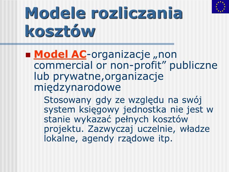 Modele rozliczania kosztów Model AC-organizacje non commercial or non-profit publiczne lub prywatne,organizacje międzynarodowe Stosowany gdy ze względ