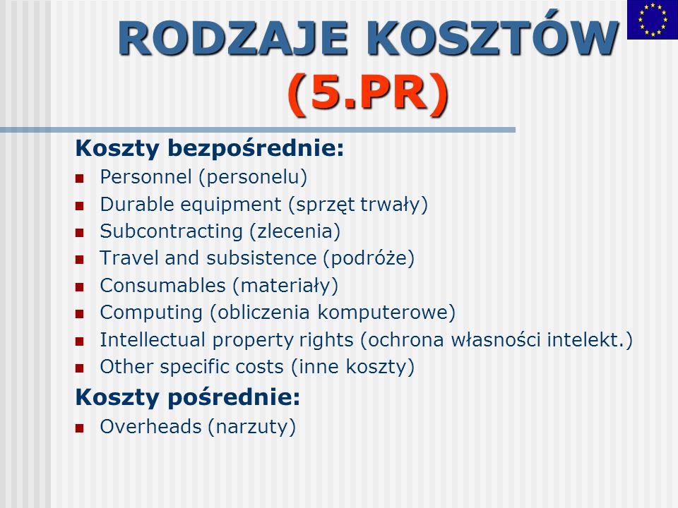 RODZAJE KOSZTÓW (5.PR) Koszty bezpośrednie: Personnel (personelu) Durable equipment (sprzęt trwały) Subcontracting (zlecenia) Travel and subsistence (