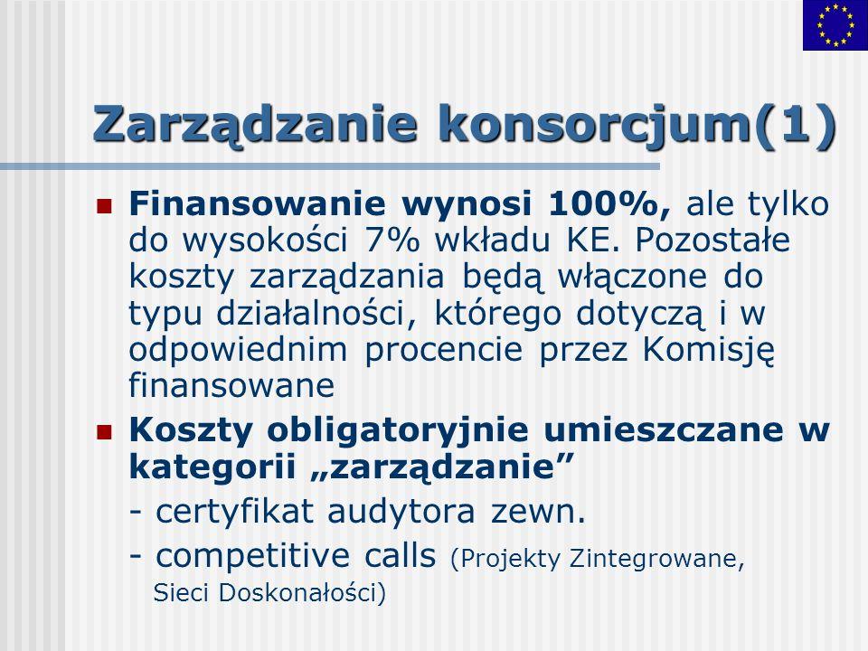 Zarządzanie konsorcjum(1) Finansowanie wynosi 100%, ale tylko do wysokości 7% wkładu KE. Pozostałe koszty zarządzania będą włączone do typu działalnoś
