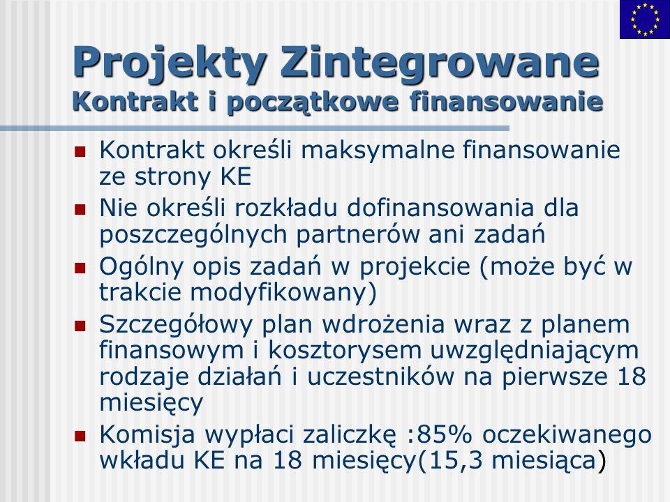 Projekty Zintegrowane Kontrakt i początkowe finansowanie Kontrakt określi maksymalne finansowanie ze strony KE Nie określi rozkładu dofinansowania dla