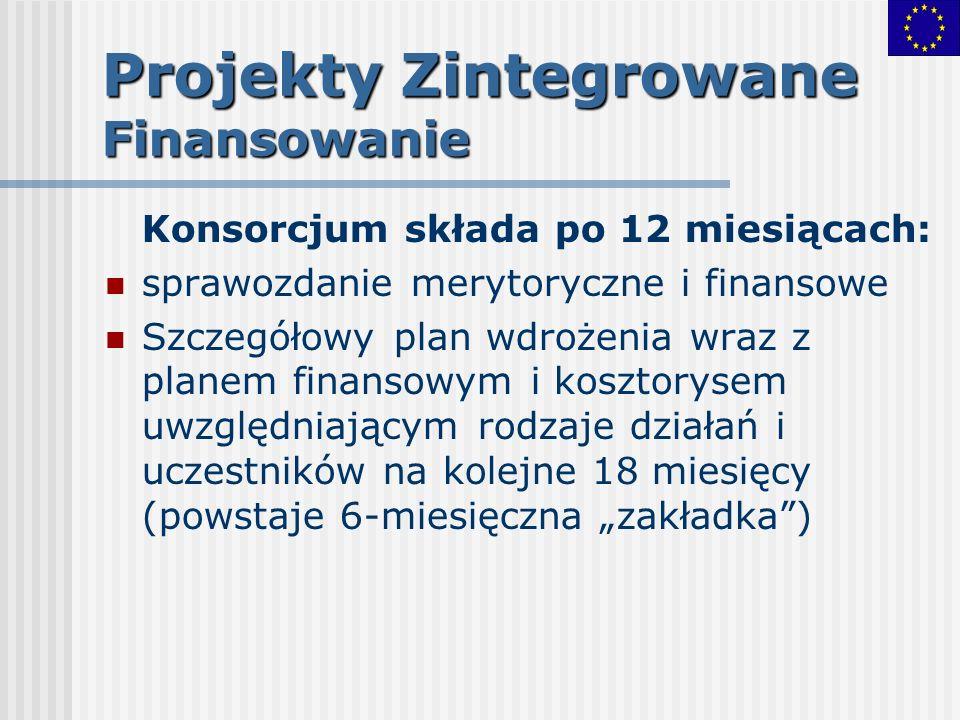 Projekty Zintegrowane Finansowanie Konsorcjum składa po 12 miesiącach: sprawozdanie merytoryczne i finansowe Szczegółowy plan wdrożenia wraz z planem
