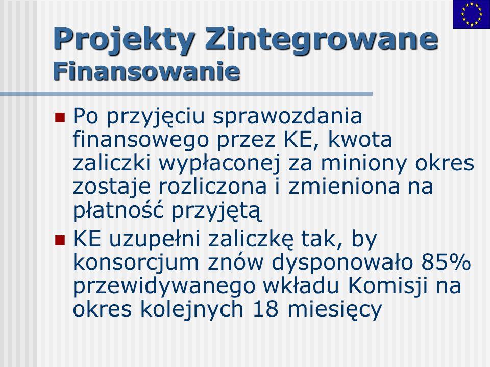 Projekty Zintegrowane Finansowanie Po przyjęciu sprawozdania finansowego przez KE, kwota zaliczki wypłaconej za miniony okres zostaje rozliczona i zmi