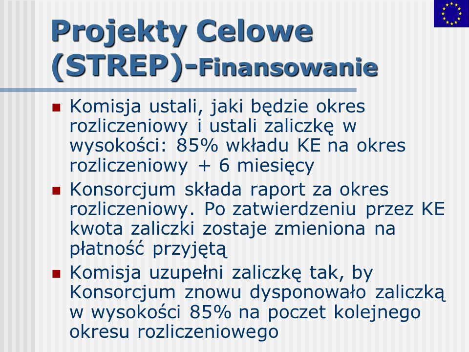 Projekty Celowe (STREP)- Finansowanie Komisja ustali, jaki będzie okres rozliczeniowy i ustali zaliczkę w wysokości: 85% wkładu KE na okres rozliczeni