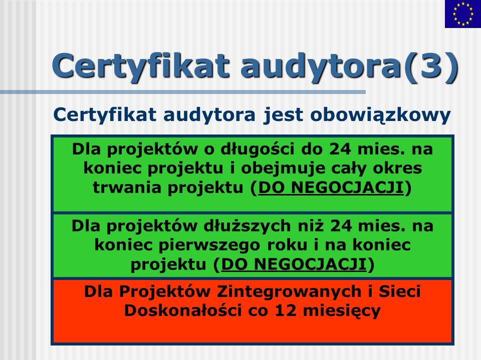 Certyfikat audytora(3) Certyfikat audytora jest obowiązkowy Dla projektów o długości do 24 mies. na koniec projektu i obejmuje cały okres trwania proj