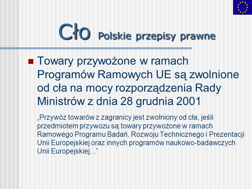 Cło Polskie przepisy prawne Towary przywożone w ramach Programów Ramowych UE są zwolnione od cła na mocy rozporządzenia Rady Ministrów z dnia 28 grudn