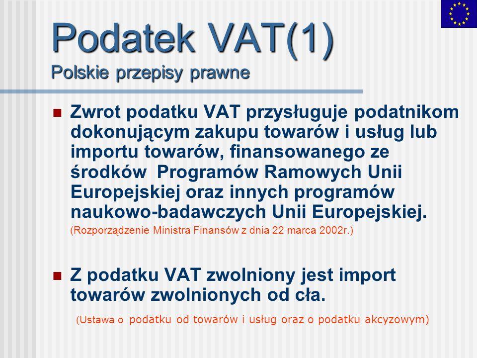 Podatek VAT(1) Polskie przepisy prawne Zwrot podatku VAT przysługuje podatnikom dokonującym zakupu towarów i usług lub importu towarów, finansowanego