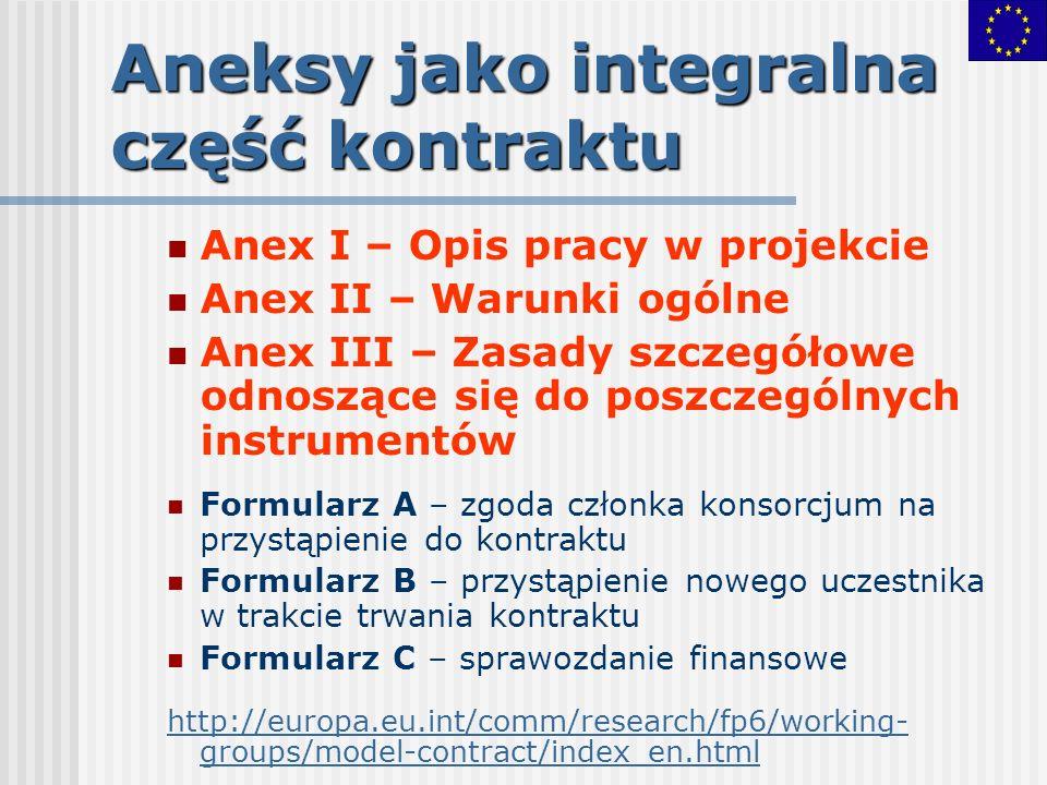 Aneksy jako integralna część kontraktu Anex I – Opis pracy w projekcie Anex II – Warunki ogólne Anex III – Zasady szczegółowe odnoszące się do poszcze