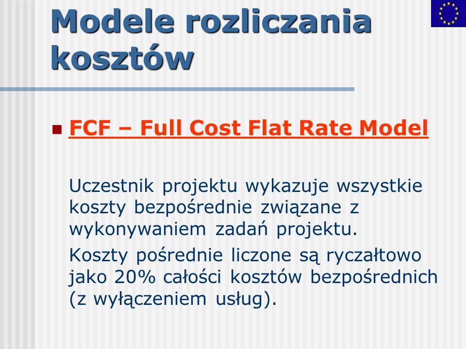 Modele rozliczania kosztów FCF – Full Cost Flat Rate Model Uczestnik projektu wykazuje wszystkie koszty bezpośrednie związane z wykonywaniem zadań pro