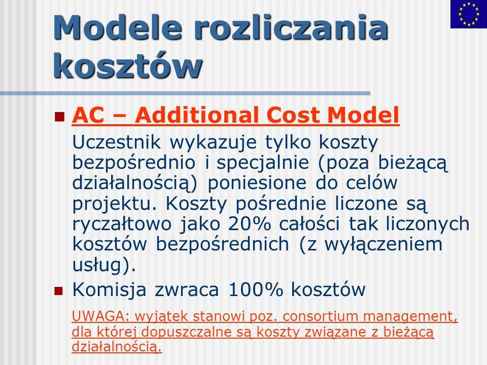 Zarządzanie konsorcjum(2) Koszty, które mogą być umieszczone w kategorii zarządzanie przygotowanie umowy konsorcjalnej (jeśli obowiązkowa) koordynacja działań merytorycznych ogólne zarządzanie konsorcjum (prawne, administracyjne, finansowe) zarządzanie wiedzą uzyskanie gwarancji finansowych (gwarancje bankowe), jeśli wymagane przez KE inne UWAGA: Uczestnicy rozliczający się w modelu AC mogą umieszczać w kategorii zarządzanie koszty pracy personelu stałego
