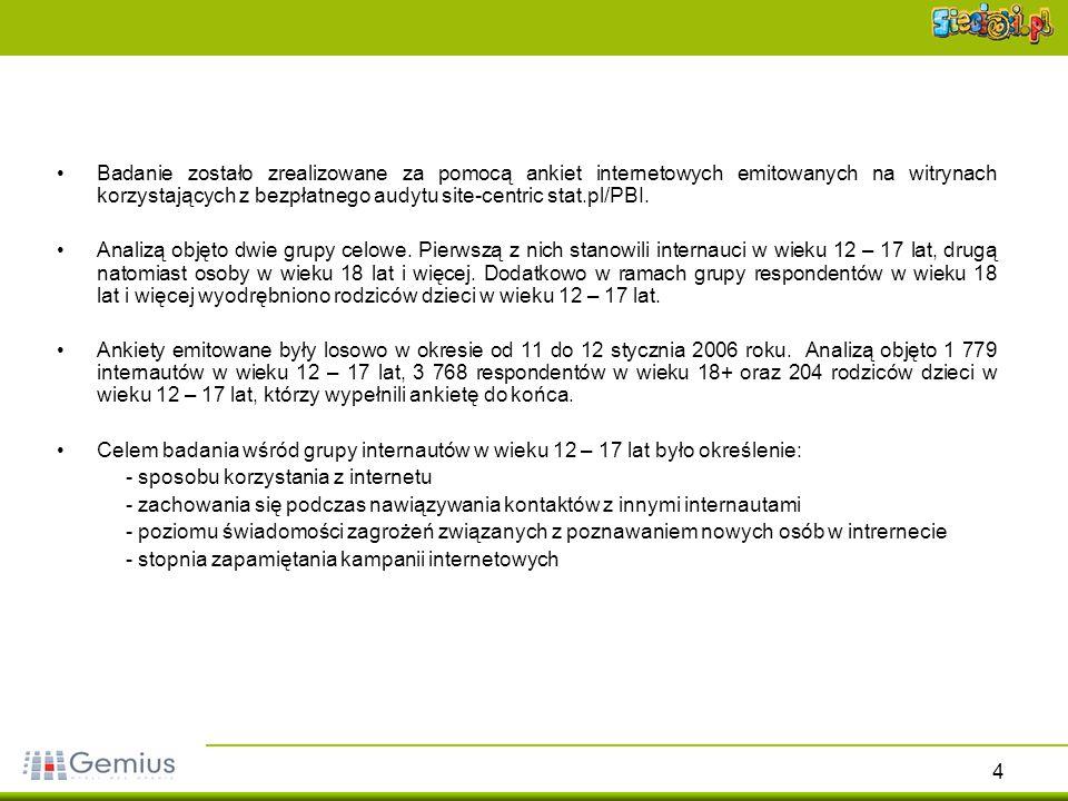 4 Badanie zostało zrealizowane za pomocą ankiet internetowych emitowanych na witrynach korzystających z bezpłatnego audytu site-centric stat.pl/PBI. A