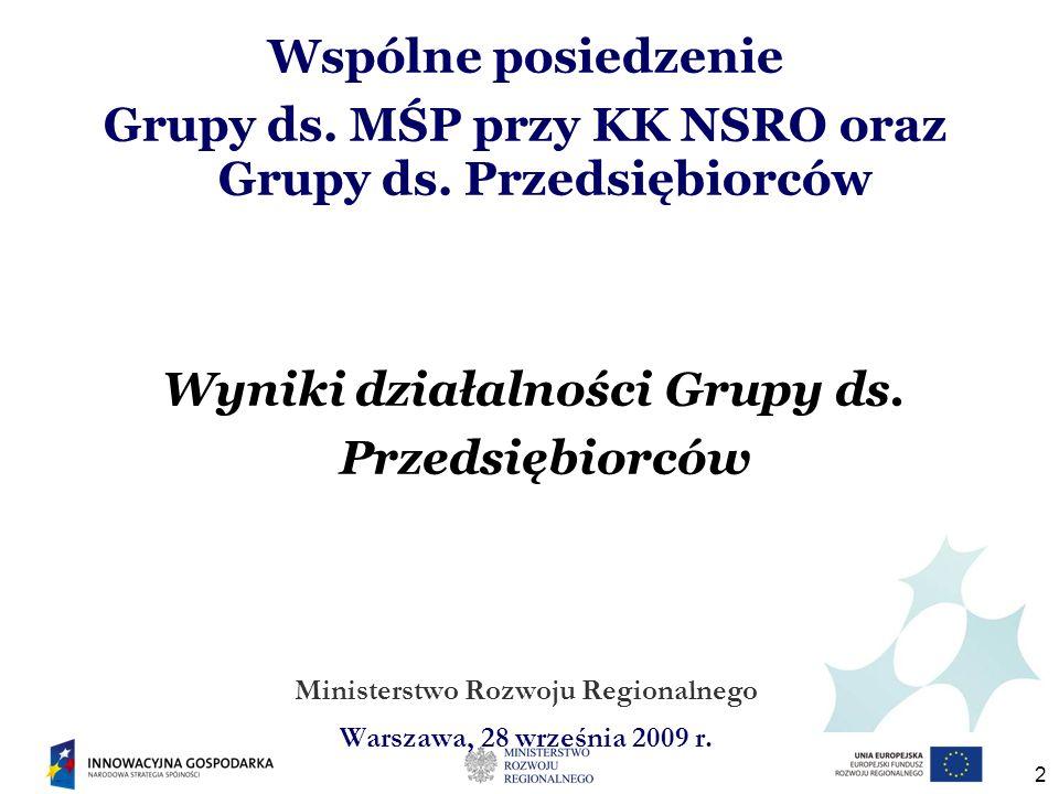 2 Wspólne posiedzenie Grupy ds. MŚP przy KK NSRO oraz Grupy ds. Przedsiębiorców Wyniki działalności Grupy ds. Przedsiębiorców Ministerstwo Rozwoju Reg