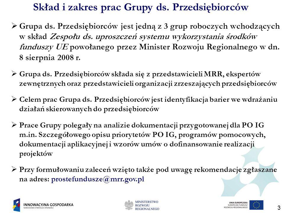 3 Skład i zakres prac Grupy ds. Przedsiębiorców Grupa ds. Przedsiębiorców jest jedną z 3 grup roboczych wchodzących w skład Zespołu ds. uproszczeń sys