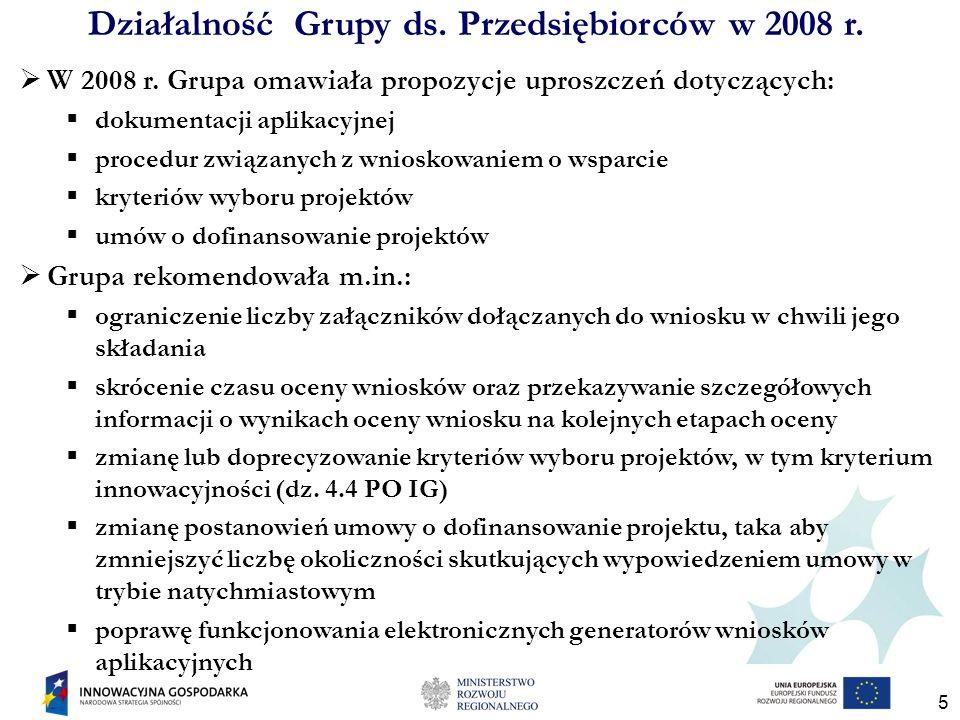 5 Działalność Grupy ds. Przedsiębiorców w 2008 r. W 2008 r. Grupa omawiała propozycje uproszczeń dotyczących: dokumentacji aplikacyjnej procedur związ