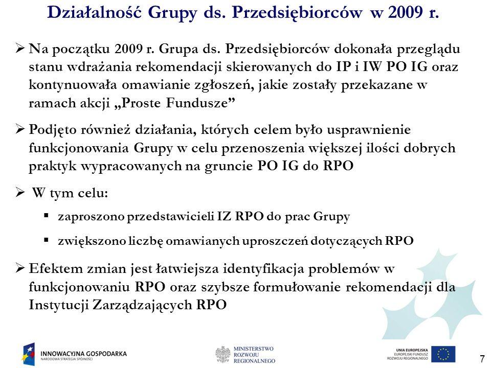 7 Na początku 2009 r. Grupa ds. Przedsiębiorców dokonała przeglądu stanu wdrażania rekomendacji skierowanych do IP i IW PO IG oraz kontynuowała omawia
