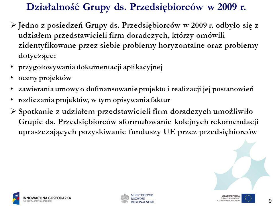 9 Jedno z posiedzeń Grupy ds. Przedsiębiorców w 2009 r. odbyło się z udziałem przedstawicieli firm doradczych, którzy omówili zidentyfikowane przez si