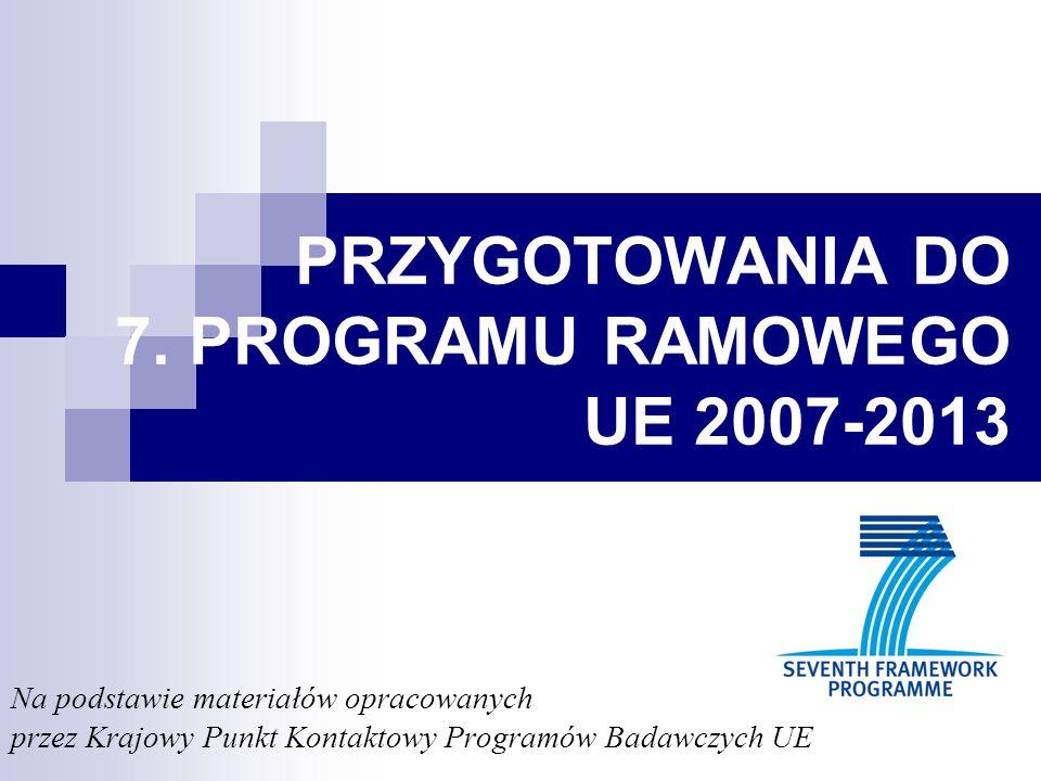 Strategiczne kierunki przygotowań do 7.PR integracja Centrów Doskonałości w sieciach i przedsięwzięciach europejskich rozbudzenie aktywności badawczej i innowacyjnej polskiego przemysłu, wygenerowanie dużych inicjatyw technologicznych oraz wzmocnienie współpracy przedsiębiorstw na poziomie europejskim, szczególnie z europejskich platform technologicznych kształcenie młodych naukowców budowa środowiska organizacyjnego, prawnego i finansowego sprzyjającego podejmowaniu współpracy zagranicznej i pogłębianiu integracji europejskiej szeroka akcja informacyjno-szkoleniowa.
