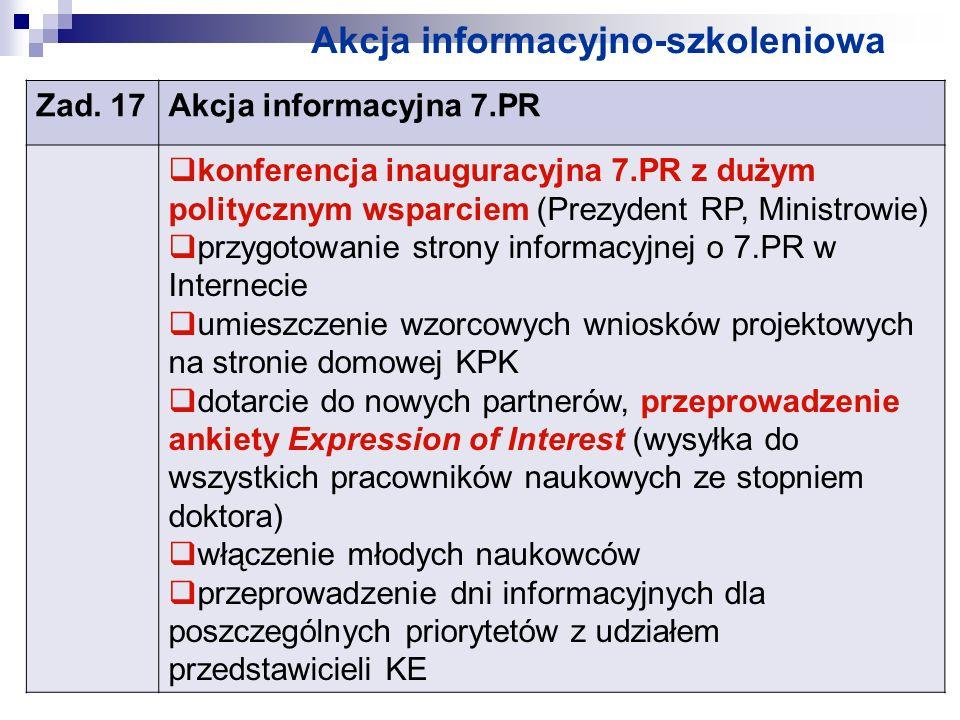 Akcja informacyjno-szkoleniowa Zad. 17Akcja informacyjna 7.PR konferencja inauguracyjna 7.PR z dużym politycznym wsparciem (Prezydent RP, Ministrowie)