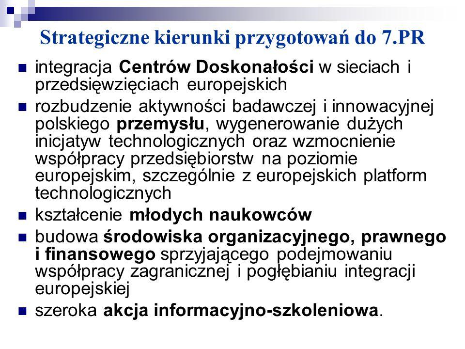 Strategiczne kierunki przygotowań do 7.PR integracja Centrów Doskonałości w sieciach i przedsięwzięciach europejskich rozbudzenie aktywności badawczej
