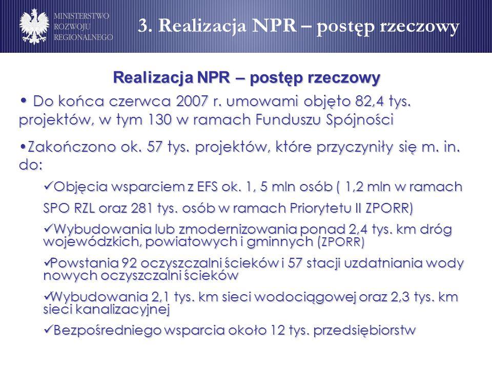 Realizacja NPR – postęp rzeczowy Do końca czerwca 2007 r. umowami objęto 82,4 tys. projektów, w tym 130 w ramach Funduszu Spójności Do końca czerwca 2