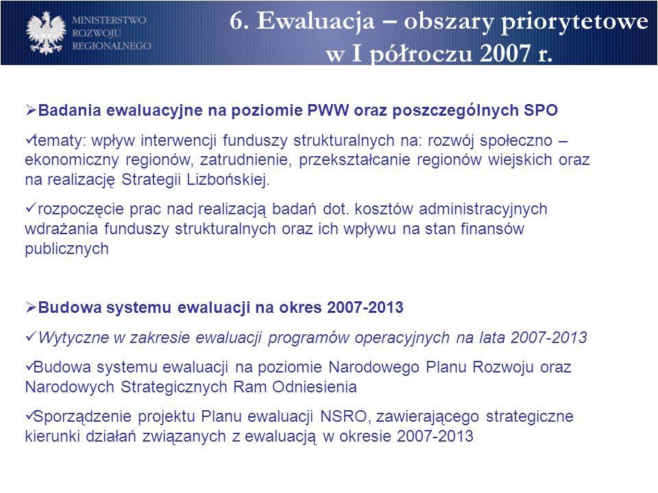 Badania ewaluacyjne na poziomie PWW oraz poszczególnych SPO tematy: wpływ interwencji funduszy strukturalnych na: rozwój społeczno – ekonomiczny regio