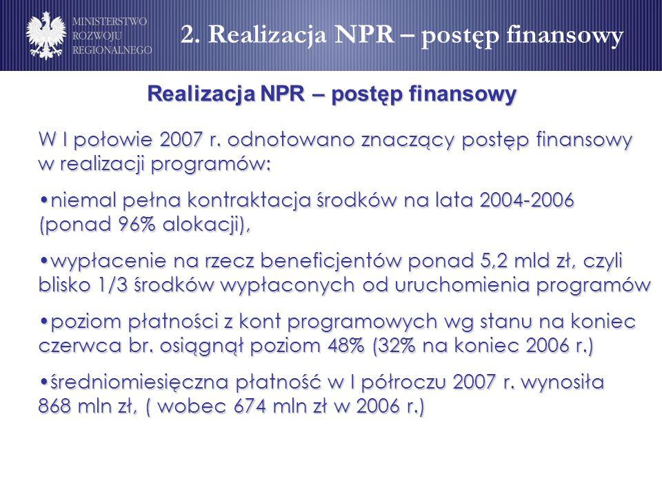 Realizacja NPR – postęp finansowy W I połowie 2007 r. odnotowano znaczący postęp finansowy w realizacji programów: niemal pełna kontraktacja środków n