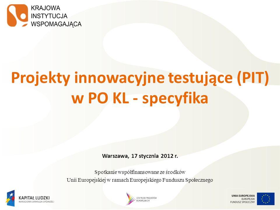 Warszawa, 17 stycznia 2012 r. Spotkanie współfinansowane ze środków Unii Europejskiej w ramach Europejskiego Funduszu Społecznego Projekty innowacyjne