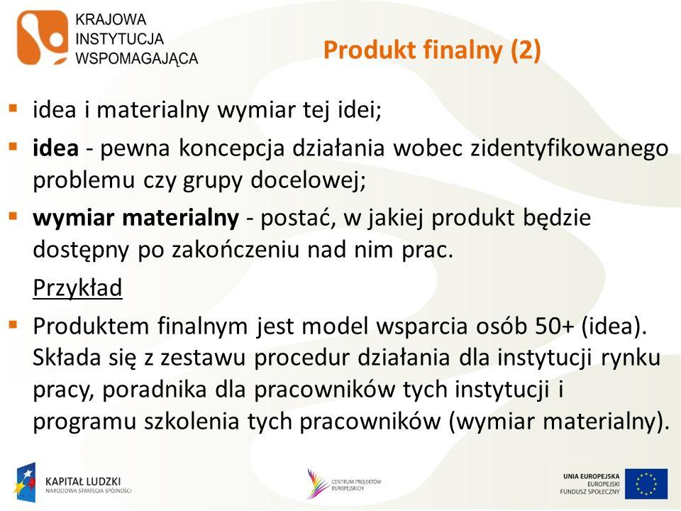 Produkt finalny (2) idea i materialny wymiar tej idei; idea - pewna koncepcja działania wobec zidentyfikowanego problemu czy grupy docelowej; wymiar m