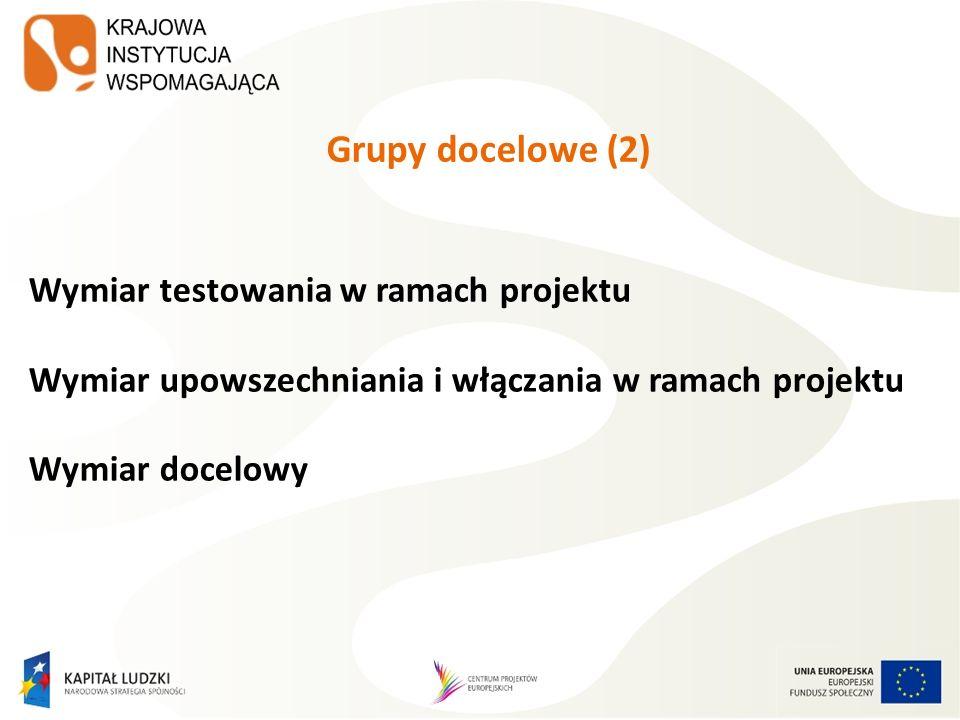 Grupy docelowe (2) Wymiar testowania w ramach projektu Wymiar upowszechniania i włączania w ramach projektu Wymiar docelowy