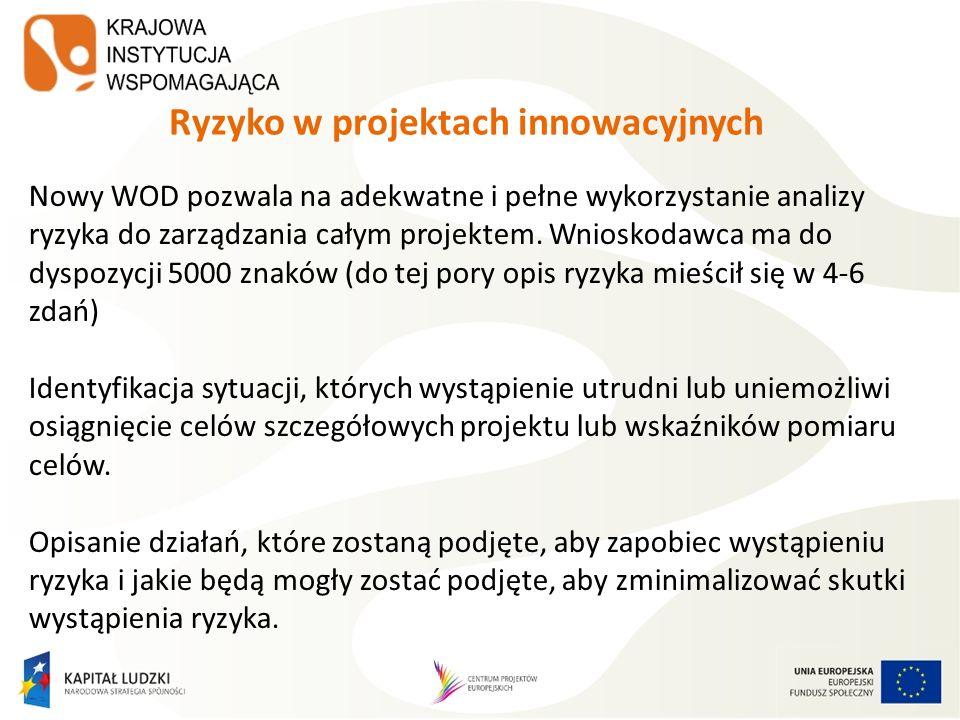 Ryzyko w projektach innowacyjnych Nowy WOD pozwala na adekwatne i pełne wykorzystanie analizy ryzyka do zarządzania całym projektem. Wnioskodawca ma d